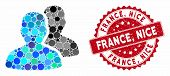 Mosaic User Accounts And Grunge Stamp Seal With France, Nice Phrase. Mosaic Vector Is Designed With  poster
