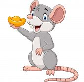 Vector Illustration Of Cartoon Rat Holding Gold Ingot. Chinese New Year. Year Of The Rat. poster