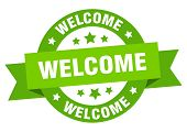 Welcome Ribbon. Welcome Round Green Sign. Welcome poster