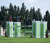 Green Horse Jumping Fence