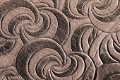 Texture Of Brown Genuine Leather Close-up, With Embossed Spiral Trend Pattern. Fashionable Backgroun poster