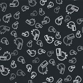 Grey Fast Payments Icon Isolated Seamless Pattern On Black Background. Fast Money Transfer Payment.  poster