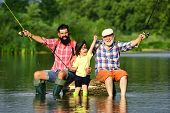 Hobby And Sport Activity. Happy People Family Have Fishing And Fun Together. Dad And Son Fishing At  poster