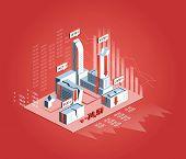 Economic Crisis Concept. Isometrict Business City, Buildings, Stock Market Finance Crisis Fall Skysc poster