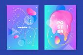 Neon Music Banner. Nightclub Party Brochure. Hipster Gradient Design. Bright Fluid Cover. Graphic Mu poster