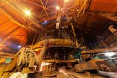 picture of blast-furnace  - Working blast furnace at the metallurgical plant - JPG