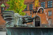 Copenhagen, Denmark: Bronze Dragon Statue In Front Of The Copenhagen City Hall, Denmark poster