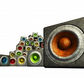 3D Stack Of Multiple Color Cubic Grunge Sound System Woofer On White