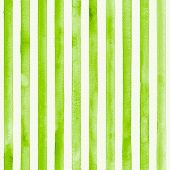 Watercolor Color Stripes Background. Green And White Striped Seamless Pattern. Watercolour Hand Draw poster