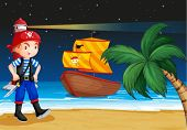 Illustration of a pirate near the seashore with a pirate boat