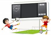 Illustration of the two boys playing soccer with a scoreboard on a white background