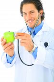 Happy Doctor Promoting Healthy Eating