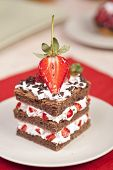 Chocolate Strawberry Cake With Whipped Cream