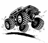 stock photo of muscle-car  - Vector Cartoon Monster Truck - JPG