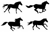 stock photo of running horse  - Abstract vector illustration of running horses silhouette - JPG