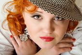Young Woman With Red Hairs In Fedora Hat