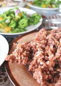 Filipino Red Rice On Plate