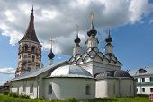 Old white stone church in Suzdal