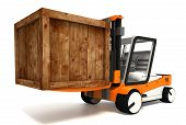 Fork Lifter Transporting Wooden Crate