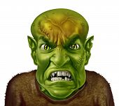 picture of goblin  - Anger Management concept with a green monster face mad scientist type of character screaming with an angry human expression expressing emotional stress from work or personal life - JPG