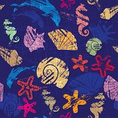 Seamless Background With Marine Life - Pattern With Shells, Seahorses, Dolphins, Sea Stars