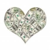 Heart Sign Made By 100 Dollar Banknotes