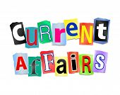 image of current affairs  - Illustration depicting cutout printed letters arranged to form the words current affairs - JPG