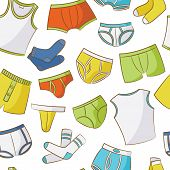 picture of tanga  - Male Underwear Doodle Seamless Pattern On The White - JPG