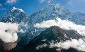 Kantega und Thamserku schöne mounts über Namche Bazar auf dem Weg zum Everest base camp n