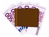 Brieftasche mit fünfhundert Euro-Banknoten