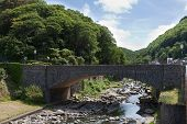 Bridge Over Lyn River At Lynmouth Devon