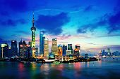 picture of highrises  - beautiful night view of shanghai skyline of  china