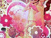 Grunge chica en Bikini rosa y gran corazón