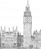 sketching of big ben london landmark poster