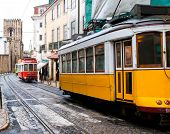 stock photo of tram  - short and quick trams in lisboa - JPG