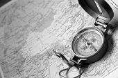stock photo of gizmo  - A compass on the map of the atlas - JPG