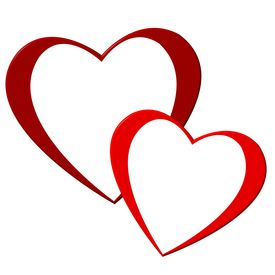 stock photo of valentine heart  - a illustration of two red valentine hearts - JPG