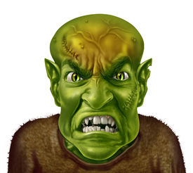 stock photo of mad scientist  - Anger Management concept with a green monster face mad scientist type of character screaming with an angry human expression expressing emotional stress from work or personal life - JPG