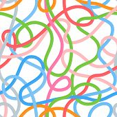 Colorful tangled wires or threads on white seamless pattern, vector