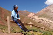 pic of aconcagua  - Gired tired after long walk in Aconcagua National Park - JPG
