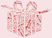 picture of boxing day  - Tag or word cloud boxing day related in shape of gift box - JPG