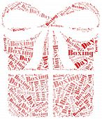foto of boxing day  - Tag or word cloud boxing day related in shape of gift box - JPG
