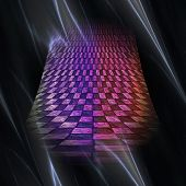 stock photo of plasmatic  - Abstract glowing plasmatic laser background with distorted checkered object - JPG