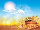 Breads And Wheat On Wooden Table Background Vector