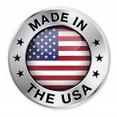 image of manufacturing  - Made in The USA silver badge and icon with central glossy United States Of America flag symbol and stars - JPG