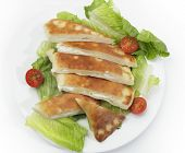 Arabian traditional labneh (cream cheese) fataya, a sort of Arab calzone, made from a flat-bread dou
