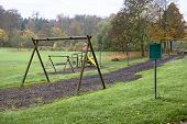 stock photo of hayfield  - idyllic rural autumn scenery at a playground in Southern Germany - JPG