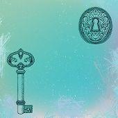 key and keyhole, grunge vector background