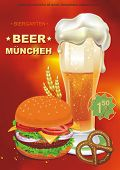 Cheeseburger and beer. Vector illustration banner wish your text