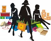 Vector illustration of young fashionable women shopping